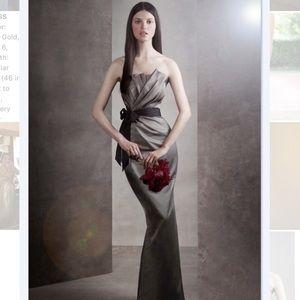 Vera Wang Draped Satin Long Dress
